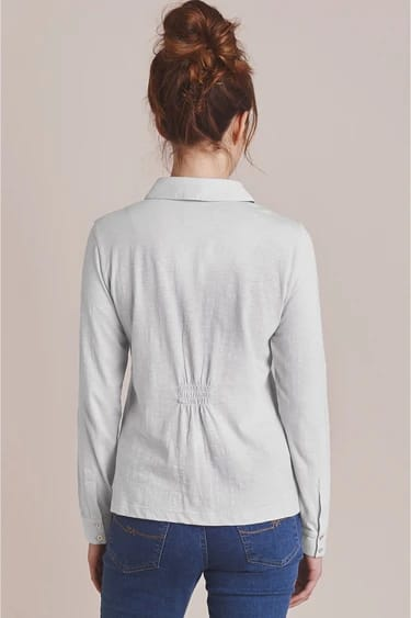 Pintuck Cotton Shirt in White Back