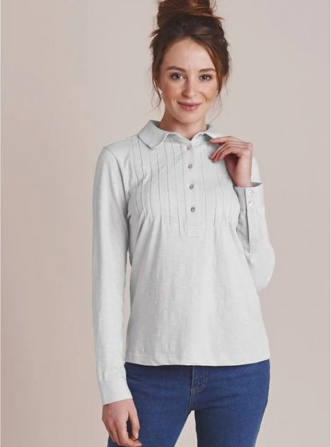 Pintuck Cotton Shirt in White Front